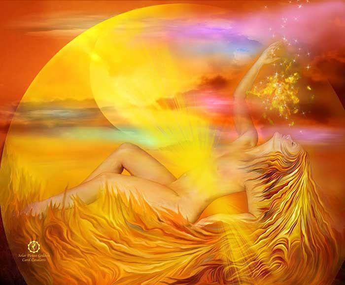 day 2 Painting Solar Plexus Goddess by Carol Cavalaris